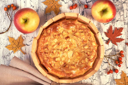 Homemade apple pie with apples, berries and linen napkin on light rustic background. Top view, toned image.