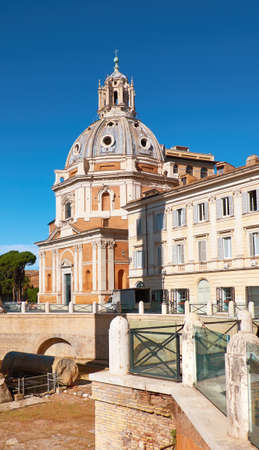 Santi Luca e Martina, a church in Rome, Italy, situated between the Roman Forum and the Forum of Caesar,on a bright day.