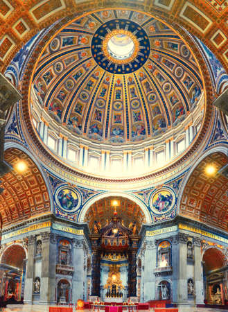 Interior of St. Peters Basilica in Rome, Italy, panoraic image