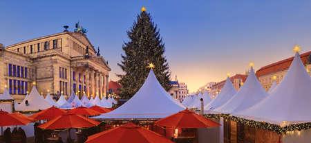 Iluminated Christmas market Gandarmenmarkt in Berlin early in the evening