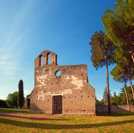 Ruined church of San Nicola a Capo di Bove at Via Appia, or Appian Way, in Rome, Italy