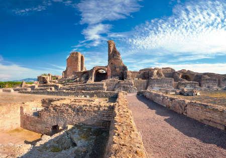 Ruins of Villa dei Quintili. Roman landscape upon Appia Way, Rome, Italy, panoramic image Stock fotó