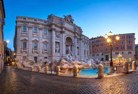 Fountain di Trevi in Rome, Italy, in the night. Panoramic image. Stock Photo