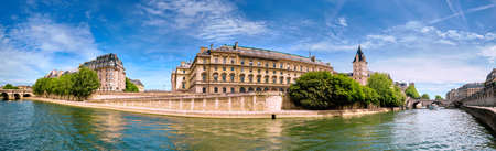 Panoramic image of Ile de la Cite in Spring. Seine riverside with Pont Neuf on the left.