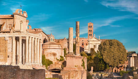 Panoramic image of Roman Forum, also known as Foro di Cesare, or Forum of Caesar, in Rome, Italy, on the bright day Stock Photo