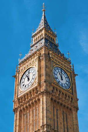 Closeup on Big Ben Clock Tower in London, UK, on a bright day