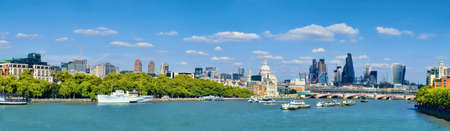 London, panoramic view over Thames river with London skyline on a bright day in Spring. This image is toned. Stock fotó