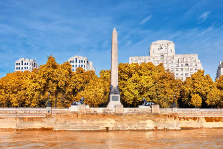 Cleopatras Needle, an ancient Egyptian obelisk on Victoria Enbankment in London, England Stock Photo