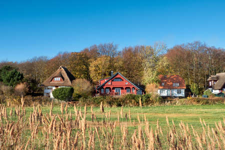 Traditional houses in Kloster, village on the North of Hiddensee, a car-free island in the Baltic sea North of Germany
