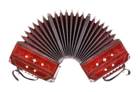 Bandoneon, tango instrument, front view, isolated on white background Banco de Imagens