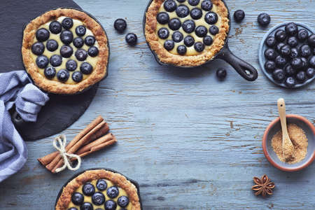 Delicious Blueberry tartlets with vanilla custard cream on light rustic wooden background. Top view with copy-space Imagens