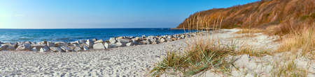 Deserted beach in Kolster, North of island Hiddensee in Northern Germany in Autumn, panoramic image 版權商用圖片