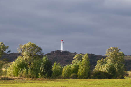 Springtime on Hiddensee. Dornbusch Lighthouse in the north of Hiddensee island in the Baltic Sea, Northern Germany.