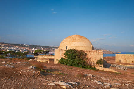 Medieval fortress buildings early in Rethymno city, Crete, early in the morning