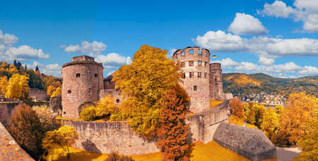 Ruins of Heidelberg Castle (Heidelberger Schloss) in Autumn. This panoramic image was made in Heidelberg, Germany.