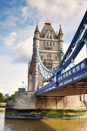 Closeup on Tower Bridge from the South Bank in London, England