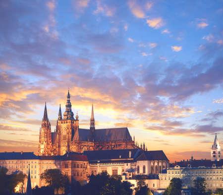 Close-up on Prague Castle at sunset, panoramic imagewith text spaace. Prague, Czech Republic