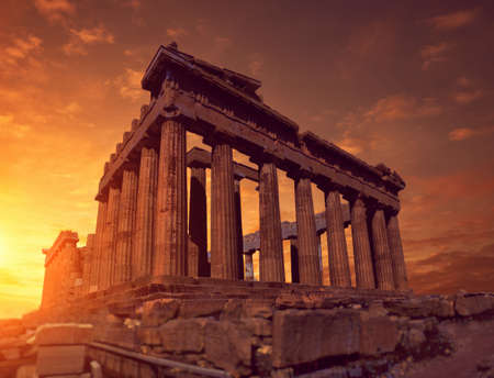 Parthenon temple on a sunset, toned panoramic image Acropolis in Athens, Greece