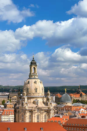 Aerial on roofs of Old Dresden and top part of Frauenkirche (Church of Our Lady) in Dresden, Saxony, Germany