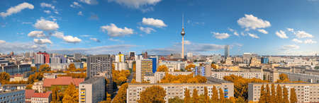 Panoramic aerial view of central Berlin on a bright day in Autumn, including television tower at Alexanderplatz