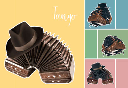 Bandoneon, tango instrument with a male hat on top with white border on pastel color backgrounds. Retro Argentine tango collage in magazine style Stock Photo