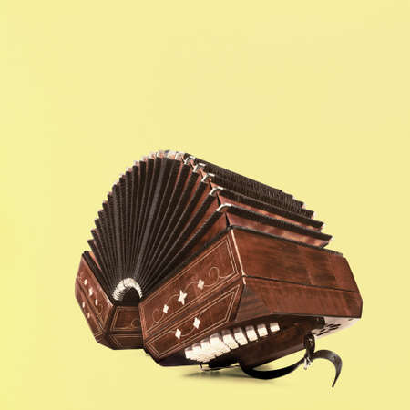 Bandoneon, tango instrument, three quarters view on yellow background, square composition with copy-space
