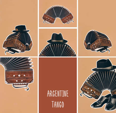 Bandoneon, tango instrument with a male hat on top with white border on orange paper. Retro Argentine tango collage in magazine style