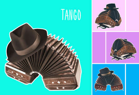Bandoneon, tango instrument with a male hat on top with white border on retro pastell color backgrounds. Retro Argentine tango collage in magazine style