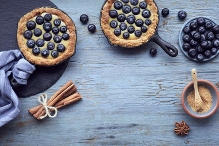Flat lay of delicious Blueberry tartlets with vanilla custard cream on light rustic wooden background. Top view with copy-space.