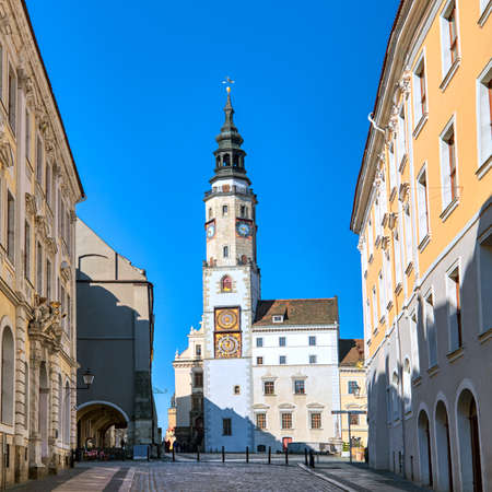 Goerlitz, Germany,  historical houses and church on main square in the morning Reklamní fotografie