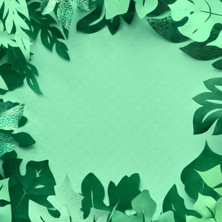 Floral background, flat lay with tropical leaves made out of paper, space for your text Stock fotó