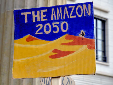 "Placard ""The Amazon 2050"" with desert landscape on a global climate strike by Brandenburg gate in Berlin"