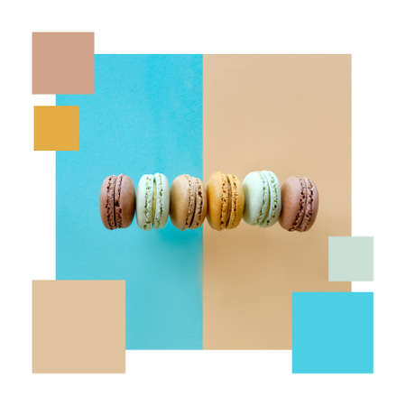 Color matching complementary palette from flat lay image of macarons, flat lay on split light blue and beige paper background