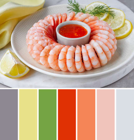 Color matching palette from image of shrimp ring with sweet chili sauce on marble serving board with yellow towel