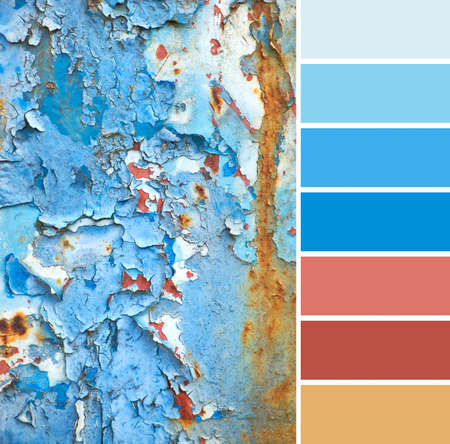 Color matching palette from close-up image of grunge rusty blue-brown textured metal plate with peeling paint