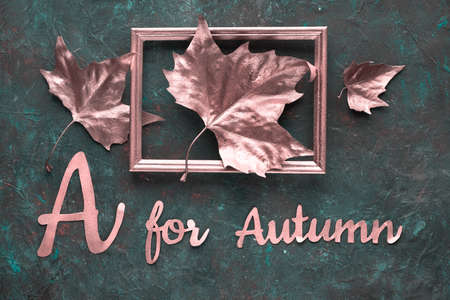 Autumn flat lay with sycamore leaves painted bronze in golden frame on dark textured background. Top view with paper text A for Autumn.