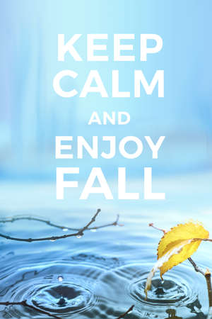 Text Keep calm and enojy Fall. Vertical poster design in blue and yellow. Vertical Fall background image. Water surface with Autumn leaves and twigs, rings from water drops.