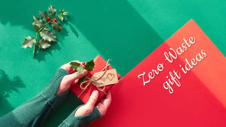 Creative panoramic flat lay on green and red paper with long shadows