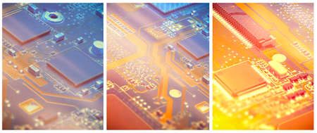 Collage, three closeups on electronic motherboard card in hardware repair shop. Details of the circuitry and close-up on electronics. Filtered picture toned in orange and blue, copy-space