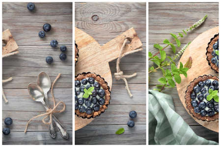Flat lay of delicious Blueberry tartlets with vanilla custard cream, flat lay on light rustic wooden background with cotton fabric Banco de Imagens - 133081234