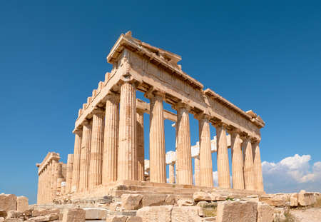 Parthenon temple on a bright day with blue sky. 版權商用圖片