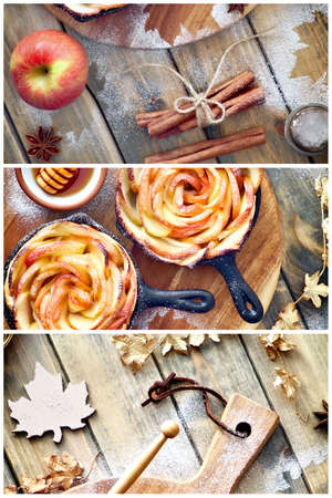 Creative Autumntime background abstract collage. Homemade tarts with rose shaped apple slices baked in iron skillets. Top lay on wooden boards with marple syrop and autumn leaves. Reklamní fotografie