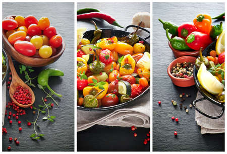 Collage of rustic, oven baked vegetables with spices and herbs in baking dish.