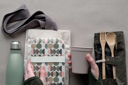 Creative top view, zero waste packed lunch concept