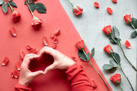 Beautiful trendy geometric flat lay in red and natural colors with coral color roses. Female hands in fluffy red fleece in a form of heart. Valentine, mothers day or birthday concept.