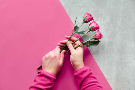 Flat lay with two female hands holding pink roses on diagonal geometric paper background on stone. Top view of greeting concept for Valentine's day, birthday, mother's day or other small occasion.