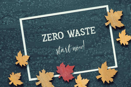 Zero waste start now text on Autumn background. Flat lay on dark liquid acrylic pour board, white paper frame  with wooden decorative maple leaves and text.