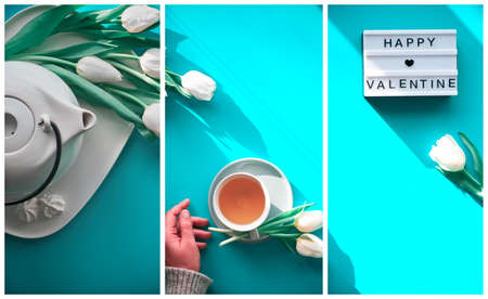 Collage, composite image. Spring geometric flat lay. Female hands show heart shape sign. Tea cup, tea pot, sweets and white tulips on blue mint. Mother day, international women day 8 March background.