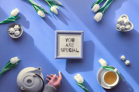 Spring geometric flat lay. Female hand hold frame with text You are special. Tea cup, pot, sweets and white tulips on pale purple. Mothers day, international women day 8 March or your mom's birthday.