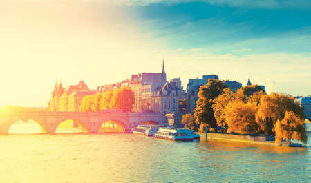 Autumn view of the Pont Sully and Square Barye on Saint Louis island